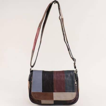 Пъстра дамска чанта с прехлупване от естествена кожа ch244ps