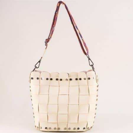 Бежова дамска чанта с органайзер и пъстра дръжка ch250419bj