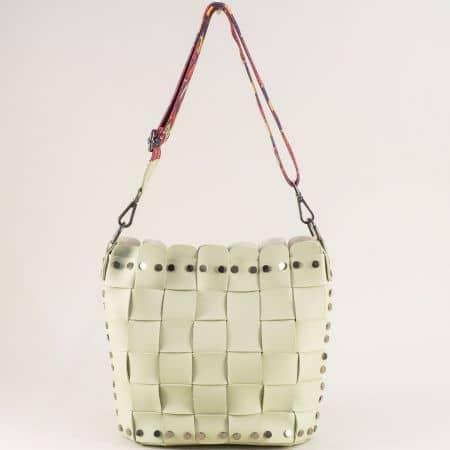 Зелена дамска чанта с органайзер и пъстра дръжка ch250419z