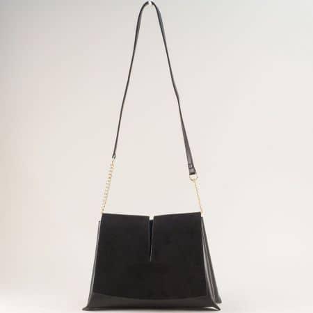 Черна дамска чанта с твърда структура и дълга дръжка ch260419ch