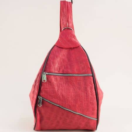 Дамска раница от естествена кожа в червен цвят ch2605chv