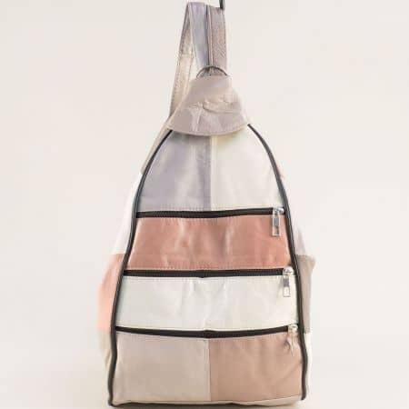 Дамска раница в бежово, бяло, розово, сиво и кафяво ch2705ps