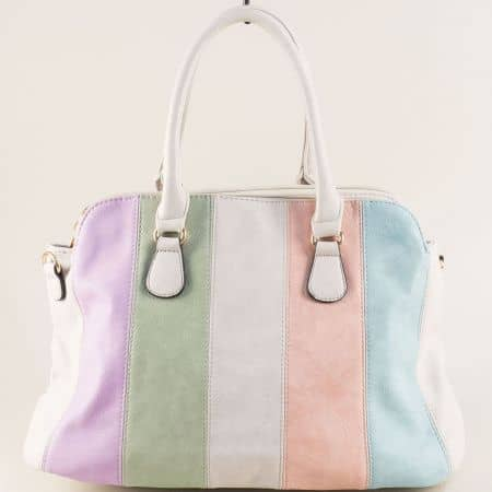 Дамса чанта в сиво, синьо, розово, зелено и лилаво ch2901svps