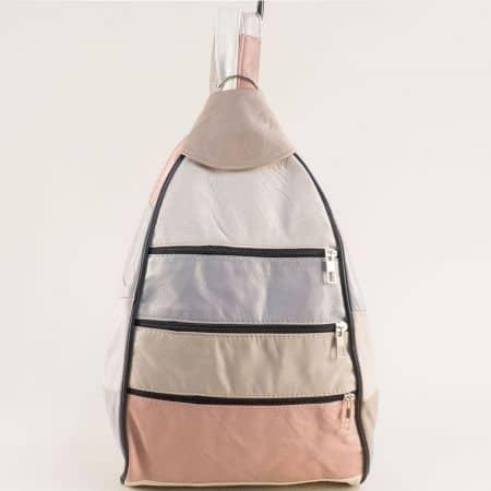 Кожена дамска раница в бяло, сиво, бежово и розово ch2904ps