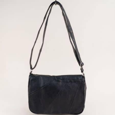 Дамска чанта с дълга дръжка от естествена кожа в черно ch291219ch