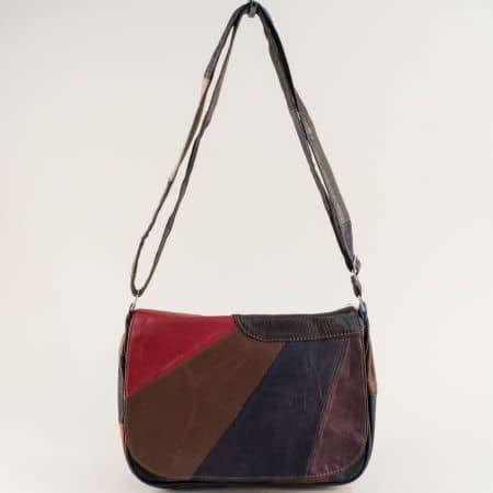 Пъстра дамска чанта с дълга дръжка от естествена кожа  ch291219ps