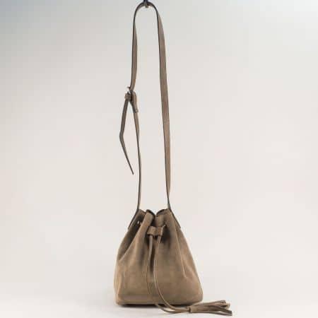 Кафява дамска чанта с оргнайзер от естествен набук ch301219vk