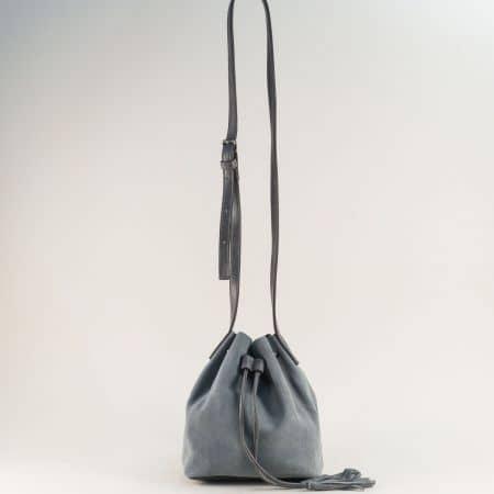 Сива дамска чанта с оргнайзер от естествен набук ch301219vsv