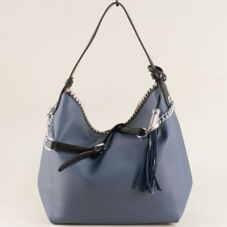 Дамска чанта, тип торба с три прегради в син цвят ch313s