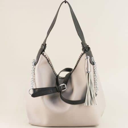Дамска чанта, тип торба с три прегради в сив цвят ch313sv