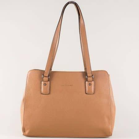 Тъмно кафява дамска чанта- David Jones с две къси дръжки cm3256kk