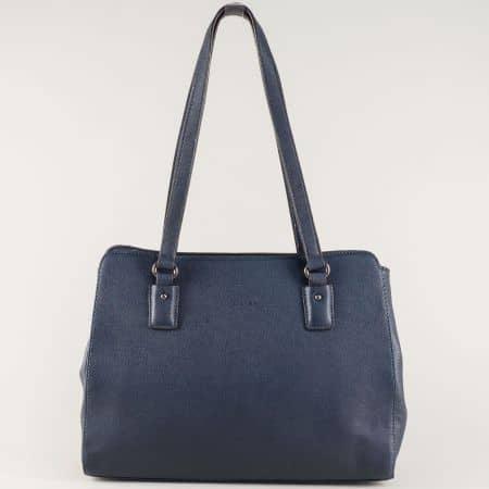 Стилна дамска чанта с две удобни дръжки в син цвят cm3256s