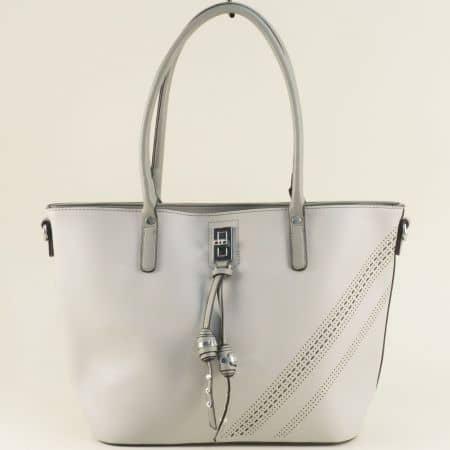 Сива дамска чанта с три прегради, къса и дълга дръжка ch332sv
