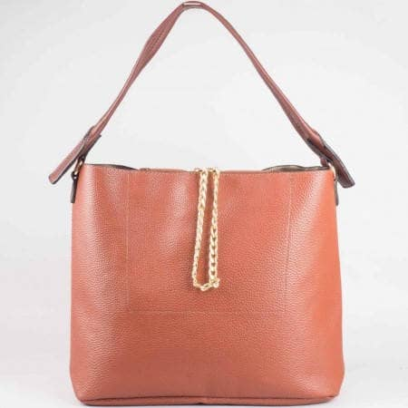 Дамска чанта за всеки ден на известната френска марка David Jones в кафяв цвят ch3918-1k