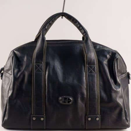 Черна пътна чанта с две къси и дълга дръжка- DAVID JONES ch3941-1ch
