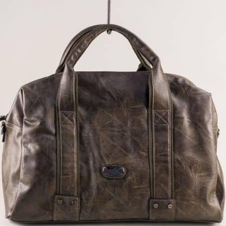 Кафява пътна чанта с две къси и дълга дръжка ch3941-1k