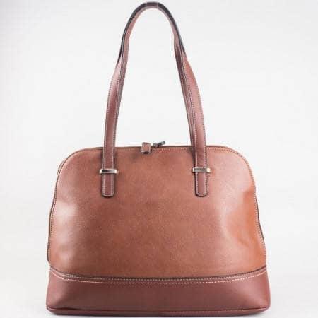 Дамска ежедневна чанта с двоен цип на David Jones в кафяв цвят ch3947-3k
