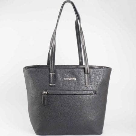 Дамска практична чанта с преден джоб на известната марка David Jones в черен цвят ch3951-3ch