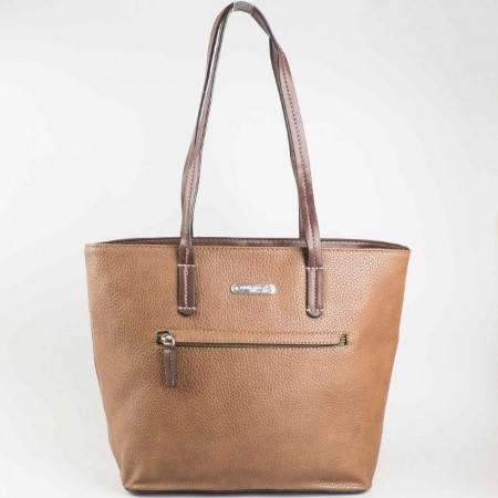 Дамска ежедневна чанта на водещия френски производител David Jones в кафяв цвят ch3951-3k