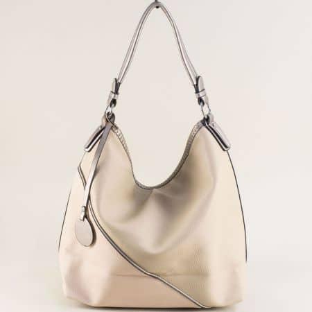 Дамска чанта, тип торба в бежов цвят с три прегради ch397bj1