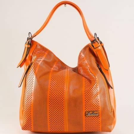 Оранжева дамска чанта, тип торба с три прегради ch4580o