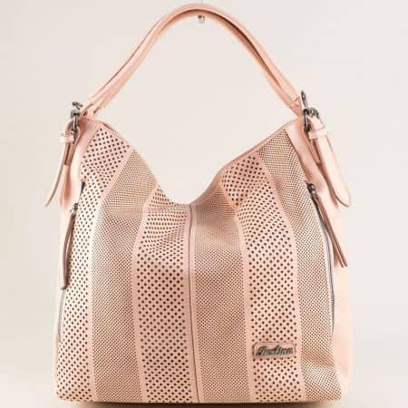 Розова дамска чанта, тип торба с къса и дълга дръжка ch4580rz