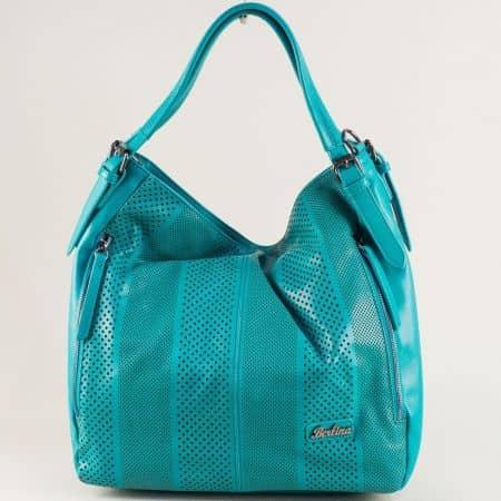 Тюркоазено зелена дамска чанта с къса и дълга дръжка ch4580tz