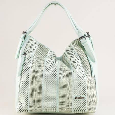 Светло зелена дамска чанта, тип торба с три прегради ch4580z