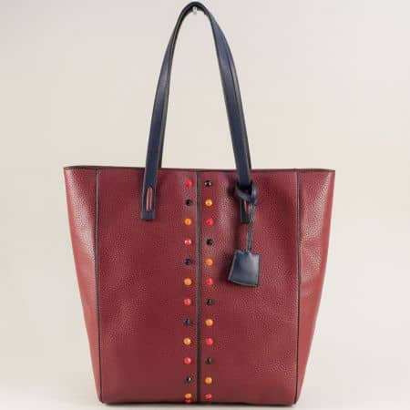 Дамска чанта в цвят бордо с твърда структура ch4662bd