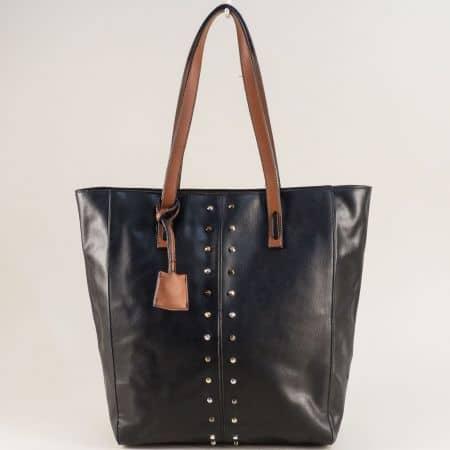 Дамска чанта с твърда структура и органайзер в черно ch4662chk
