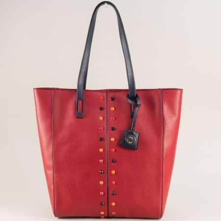 Дамска чанта с твърда структура в червен цвят ch4662chv