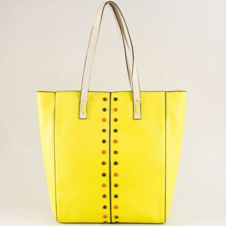 Жълта дамска чанта с твърда структура и органайзер ch4662j