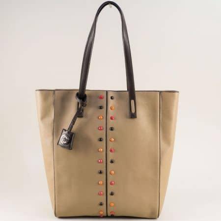 Кафява дамска чанта с твърда структура и органайзер ch4662k