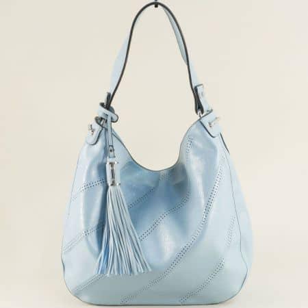 Светло синя дамска чанта, тип торба с пискюл ch466s