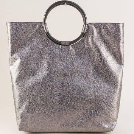 Дамска чанта в цвят бронз с две къси и дълга дръжка  ch4712brz