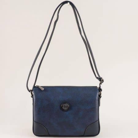 Дамска чанта в син цвят с дълга дръжка и външен джоб ch4716s