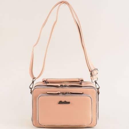 Розова дамска чанта с твърда структура ch4740rz