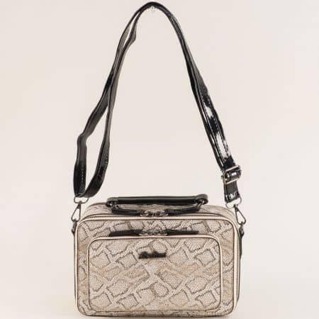 Златна дамска чанта с къса и дълга дръжка ch4740zl