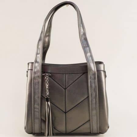 Бронзова дамска чанта с две къси и дълга дръжка ch4742brz