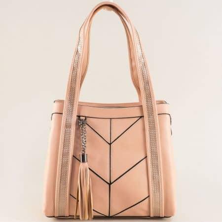 Розова дамска чанта с три прегради и пискюл ch4742rz