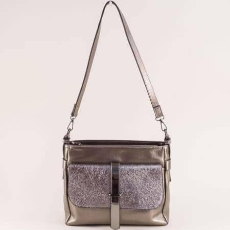 Бронзова дамска чанта с дълга дръжка и два джоба ch4743brz