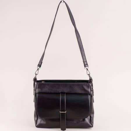 Черна дамска чанта с дълга дръжка и два външни джоба ch4743ch