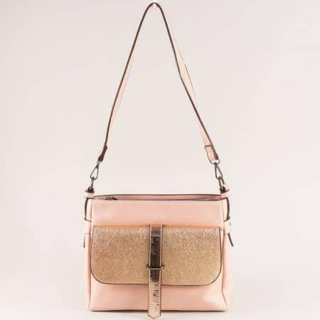 Дамска чанта с дълга дръжка и два джоба в розово и златно ch4743rz