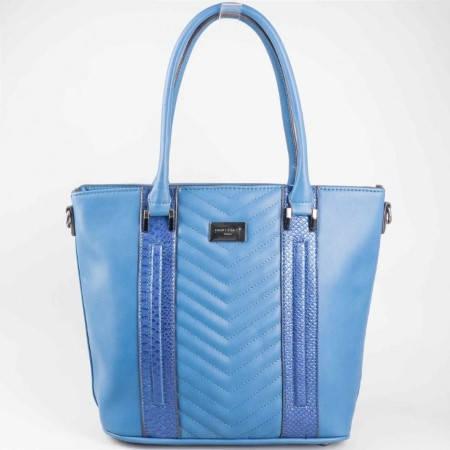 Френска дамска чанта с практично разпределение и змийски принт в син цвят ch5004-2s