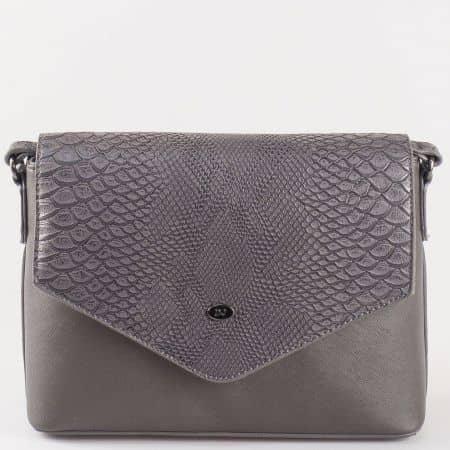 Кокетна дамска чанта с външен джоб с цип и дълга дръжка- David Jones в черен цвят ch5056-3ch