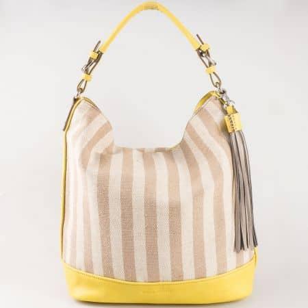 Дамска атрактивна чанта с принт райе на френския производител David Jones в жълто, бежово и сиво  ch5081-1k