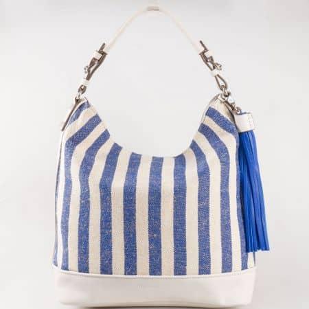 Дамска лятна чанта със свежа визия на френския производител David Jones в сиво и синьо  ch5081-1s