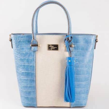 Дамска ефектна чанта с къса и дълга дръжка- David Jones в синьо и бежово  ch5082-2s