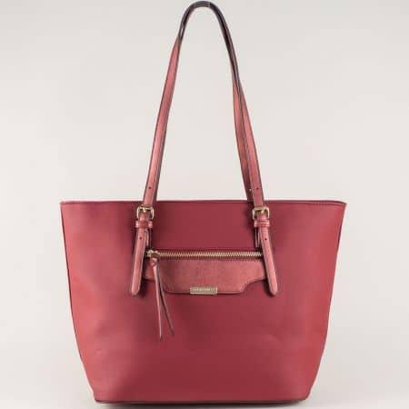 Дамска чанта в цвят бордо с външен преден джоб с цип ch5290-3bd