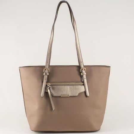 Кафява дамска чанта с две дръжки с регулация ch5290-3k